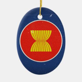 la Asociación de Naciones del c@sureste Asiático Adorno Navideño Ovalado De Cerámica