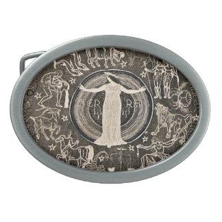 La astrología de la mujer del vintage firma la heb hebillas de cinturon