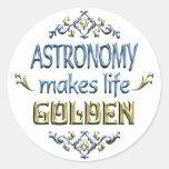 La ASTRONOMÍA es de oro Pegatina Redonda