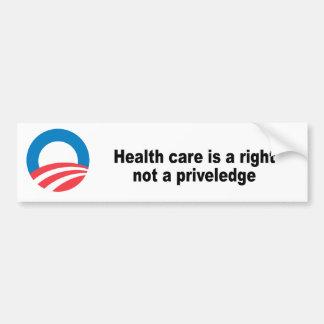 La atención sanitaria un correcto no un priveledge pegatina para auto