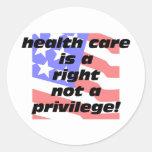 la atención sanitaria un correcto pegatina redonda