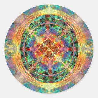 La Atlántida inspiró la mandala del arco iris Pegatina Redonda