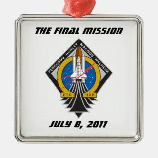 """La Atlántida STS-135 ornamento """"de la misión Adorno Navideño Cuadrado De Metal"""