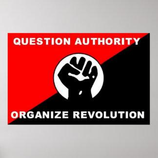 La autoridad de la pregunta organiza el poster de