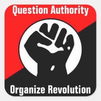 la autoridad de la pregunta organiza la revolución calcomanías cuadradass