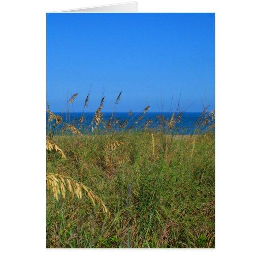La avena del mar vara el océano de la duna y la tarjeta de felicitación