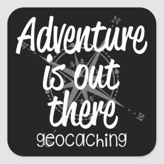 La aventura está hacia fuera allí pegatina cuadrada