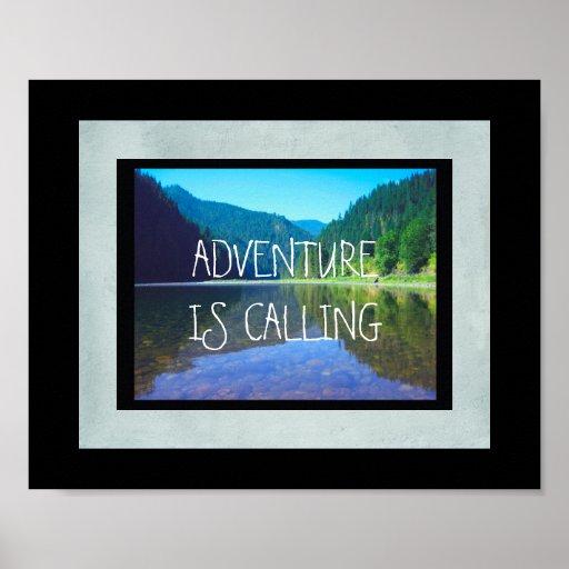 la aventura está llamando la foto del río de la póster