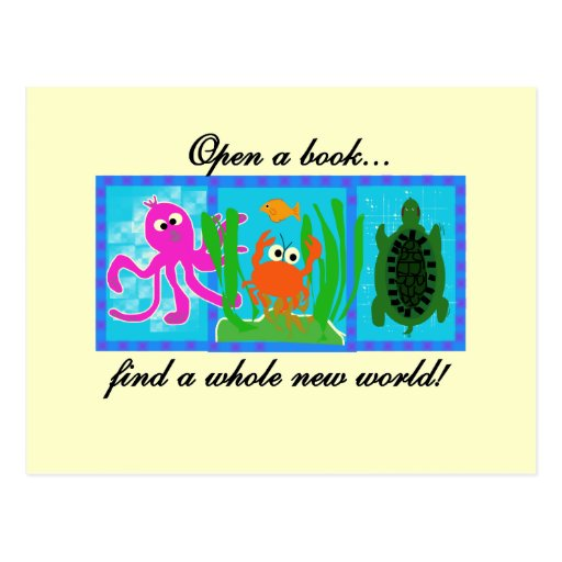 La aventura submarina abre un libro tarjetas postales