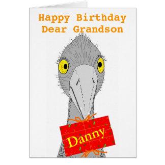 La avestruz divertida, cualquier niño, añade el tarjeta de felicitación
