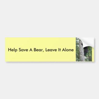 La ayuda ahorrar un oso le deja la pegatina para pegatina de parachoque