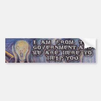 """¡La ayuda del grito"""" y del gobierno Munch's """"! Pegatina Para Auto"""