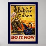 La ayuda entrega las mercancías (la frontera) poster