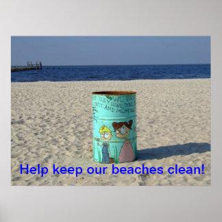 ¡La ayuda mantiene nuestras playas limpias! Póster