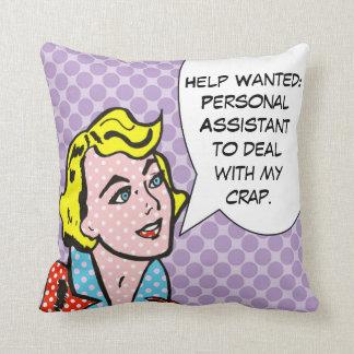 La ayuda quiso la almohada de tiro del cómic cojín decorativo