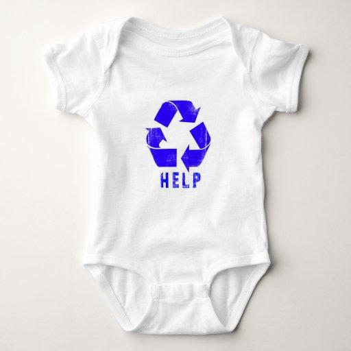 La ayuda recicla (el azul) playera