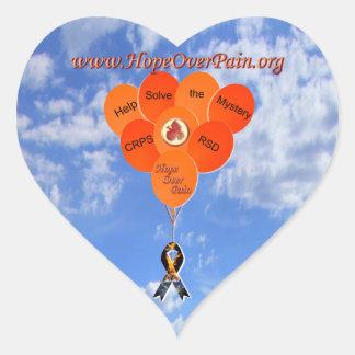 La ayuda soluciona los globos del misterio CRPS Pegatina En Forma De Corazón
