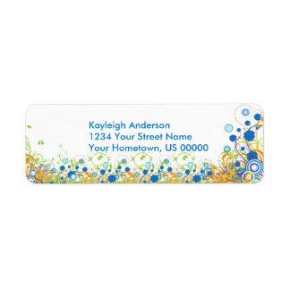 La azul y amarillo abstracto del remite de las flo etiqueta de remitente