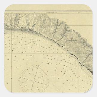La bahía de Drake, California Pegatina Cuadrada