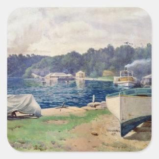 La bahía de Mosman, Sydney Calcomanías Cuadradas Personalizadas
