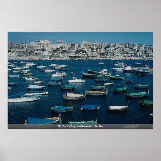 La bahía de San Pablo, Malta del noroeste Póster