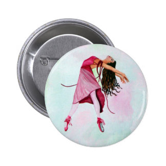 La bailarina rosada pin redondo de 2 pulgadas