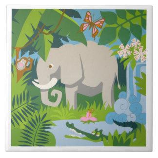 La baldosa cerámica grande del elefante azulejo cuadrado grande