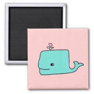 La ballena azul imán cuadrado