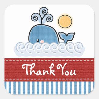 La ballena azul le agradece los pegatinas calcomanía cuadrada