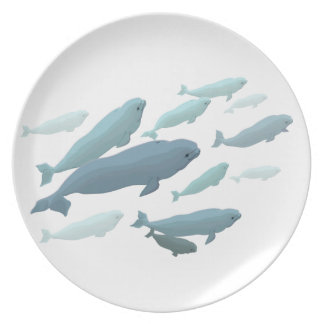 La ballena de la beluga de la placa de la beluga s plato de comida