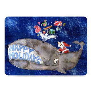 """La ballena desea la tarjeta del día de fiesta del invitación 5"""" x 7"""""""