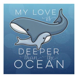 La ballena linda de la mamá y del bebé, amor es cuadro