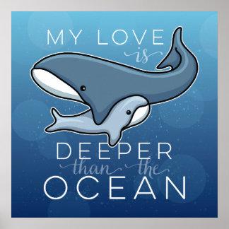 La ballena linda de la mamá y del bebé, amor es póster