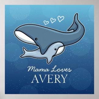 La ballena linda personalizada del bebé de la póster