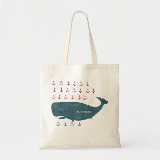 La ballena náutica ancla el tote de muy buen gusto bolsa tela barata