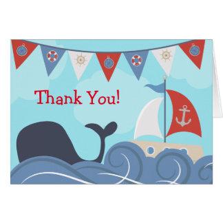 La ballena náutica del océano de la playa del tarjeta pequeña