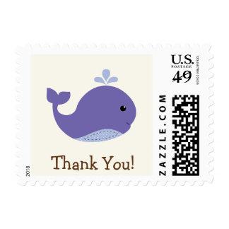 La ballena púrpura del bebé náutico, océano le sellos postales