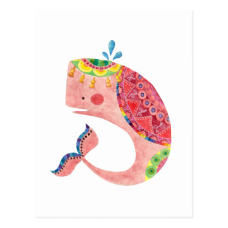 La ballena rosada feliz tarjetas postales