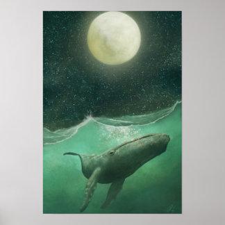 La ballena y la luna póster