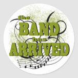 La banda llegó oro pegatina redonda