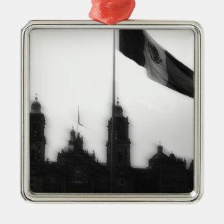 La Bandera 10 de la estafa del EL Zocalo del DF Adorno Cuadrado Plateado