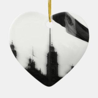 La Bandera 10 de la estafa del EL Zocalo del DF Adorno De Cerámica En Forma De Corazón