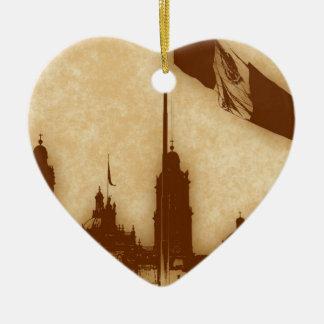 La Bandera 11 de la estafa del EL Zocalo del DF Adorno De Cerámica En Forma De Corazón