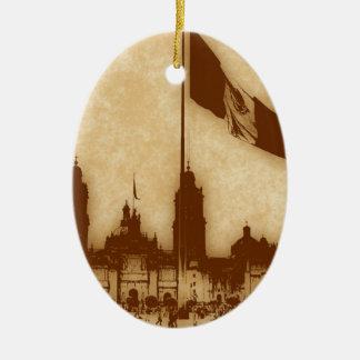 La Bandera 11 de la estafa del EL Zocalo del DF Adorno Ovalado De Cerámica