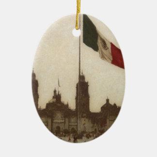 La Bandera 12 de la estafa del EL Zocalo del DF Adorno Ovalado De Cerámica