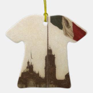 La Bandera 12 de la estafa del EL Zocalo del DF Adorno De Cerámica En Forma De Playera