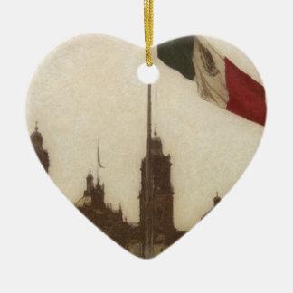 La Bandera 12 de la estafa del EL Zocalo del DF Adorno De Cerámica En Forma De Corazón