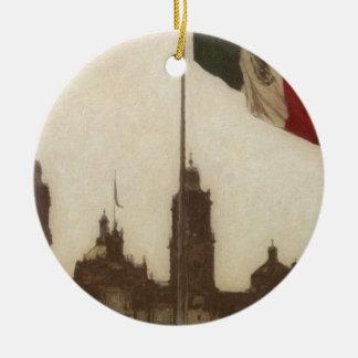 La Bandera 12 de la estafa del EL Zocalo del DF Adorno Redondo De Cerámica