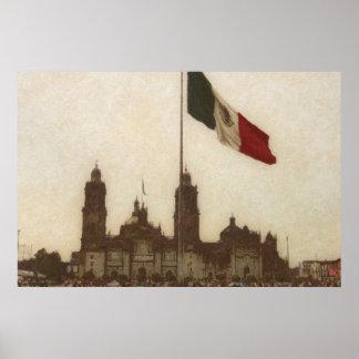 La Bandera 12 de la estafa del EL Zocalo del DF Póster