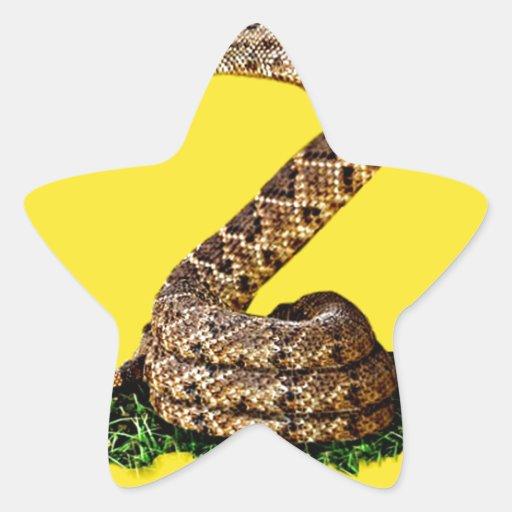 La bandera 2013 de Gadsden - no pise en mí (el Pegatina En Forma De Estrella